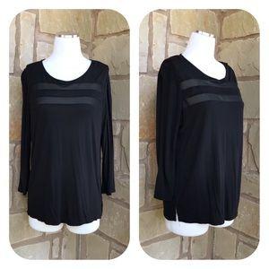 Ann Taylor Black 3/4 Sleeve Sheer Stripe Top L